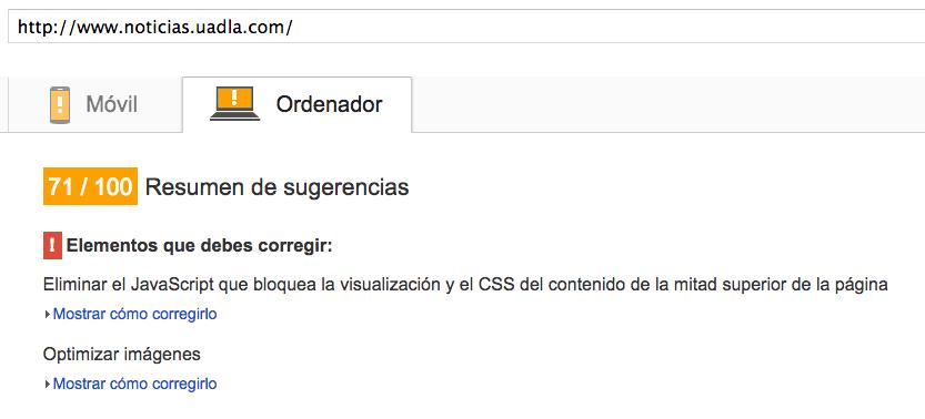 Resultados de WP Super Cache en PageSpeed