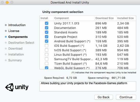 Lista de los componentes que se pueden instalar de Unity.