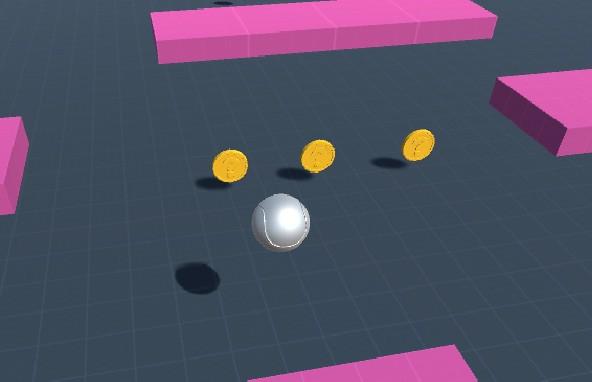 Se muestran las monedas a recolectar por la bola