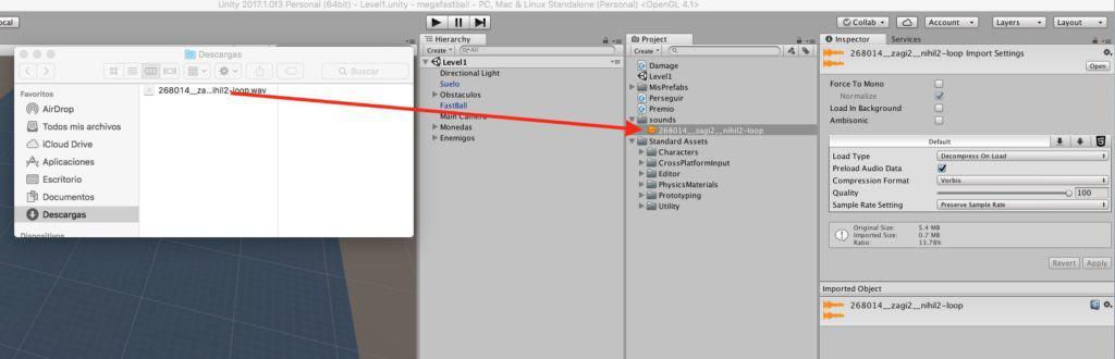 Fichero de sonido en Unity.